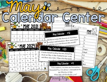 May Calendar Center Task Cards