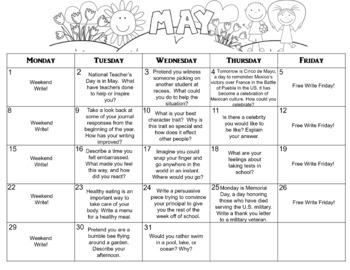 May Calendar Editable Journal Prompts