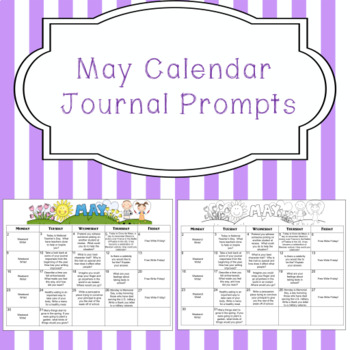 May Calendar Editable Journal Prompts