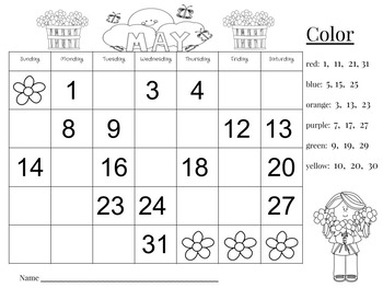 May Calendar Number Writing Practice