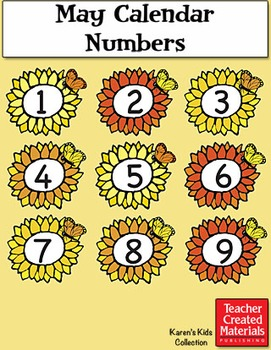 May Calendar Numbers by Karen's Kids (Digital Download)