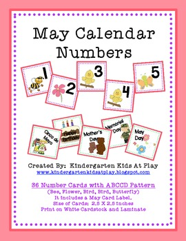 May Calendar Numbers with Pattern