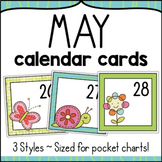 May Calendar Numbers - Monthly Calendar Cards Set