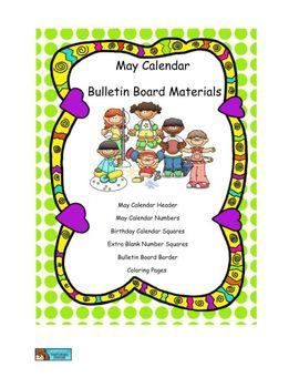 May Calendar and Bulletin Board Materials