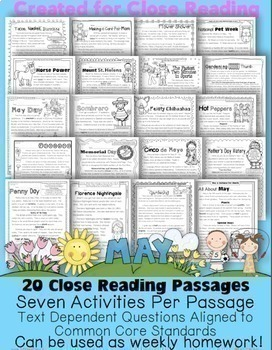 May Close Reading Passages for Text Evidence w/ CCS Aligned Tdq's