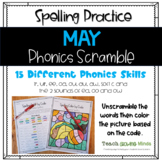 May Color by Code - Phonics Spelling Scramble - Distance Learning