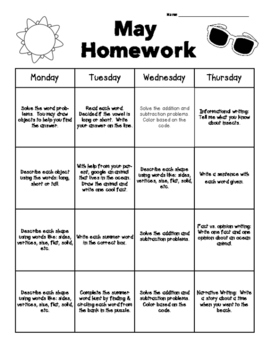 May Common Core Homework Packet