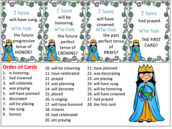 May Crowning I Have Who Has Simple, Progressive, Perfect Verb Tenses