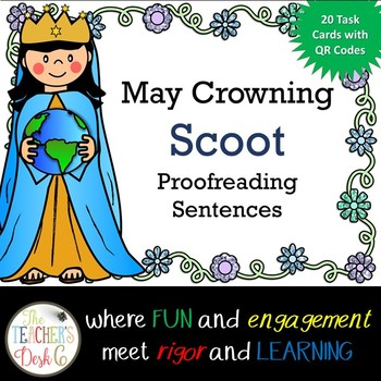 May Crowning Scoot Proofreading Task Cards with QR Codes