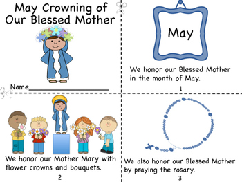 May Crowning of Our Blessed Mother Mini Book/Coloring Pages/Prayer