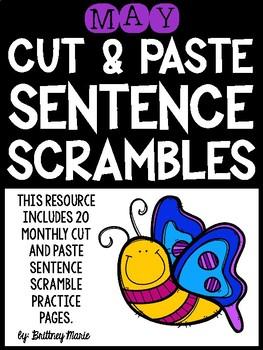 May Cut and Paste Sentence Scrambles