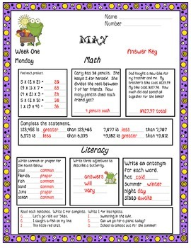 May Daily Common Core Third Grade Practice For Language Arts and Math Skills