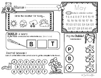 May Daily Literacy & Math Morning Work {Pre-K & Kindergarten} No Prep!