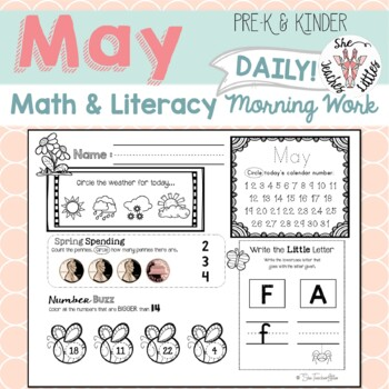 May Daily Literacy & Math Morning Work {Pre-K & Kindergarten