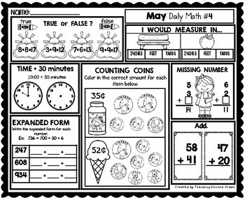 May Daily Math (1st Grade) - Use for morning, homework or independent work