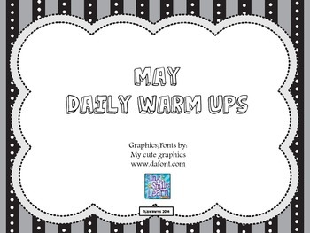 May Daily Warm Ups for Kindergarten