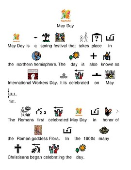 May Day - picture supported text lesson article review visuals