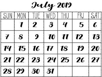 May-Dec 2019 Calendar Printable