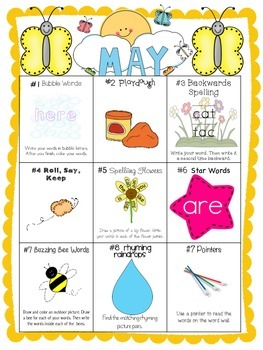May Differentiated Literacy Center Word Work Menu (Common Core Aligned)