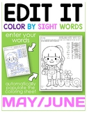 Editable Color By Code Sight Words-May