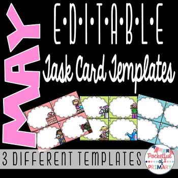 May EDITABLE Task Card TEMPLATES
