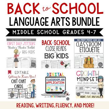 Back to School ELA Bundle Common Core Aligned for Grades 4-6