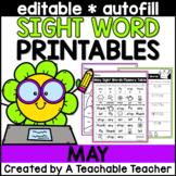 May Editable Sight Word Printables