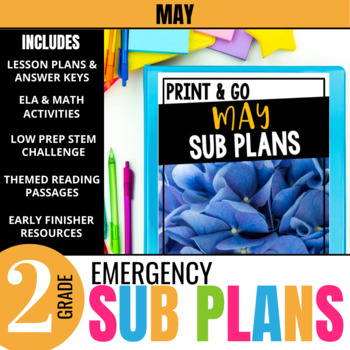 May Emergency Sub Plans for 2nd Grade: Activities & Ready-to-go Lessons