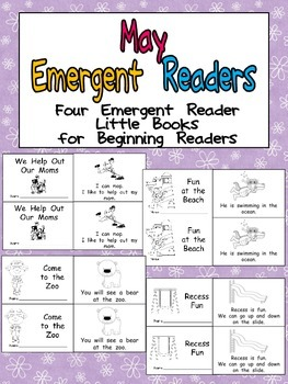 May Emergent Readers - A Book for Each Week- Mothers' Day, Ocean, Zoo