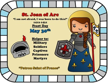 May Feast Day Catholic Saint Poster - Saint Joan of Arc