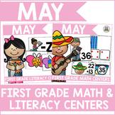 May First Grade Math & Literacy Centers Bundle