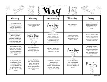May First Grade Writing Prompts and Journal Pages (Common Core Aligned)