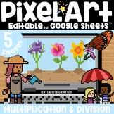 May Flowers Digital Pixel Art Magic Reveal MULTIPLICATION