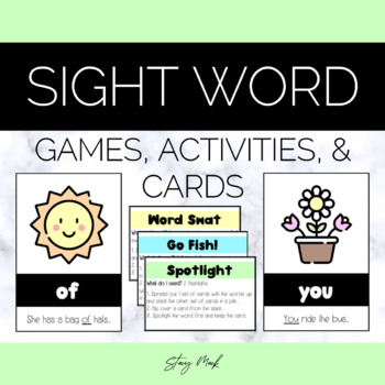May Flowers Kindergarten Sight Word Cards