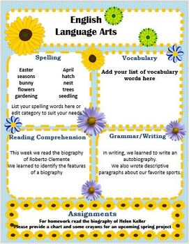 May/Flowers/Mother's Day Themed Weekly or Monthly Classroom Newsletter Editable