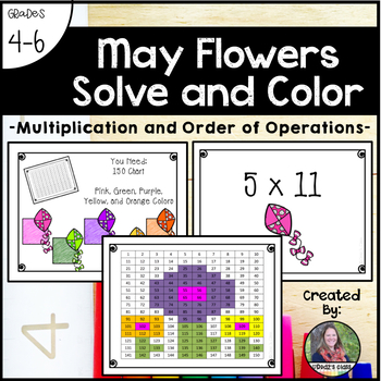 May Flowers Solve and Color (Multiplication and Order of Operations)