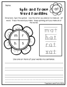 May Flowers- Spin and Trace Word Families