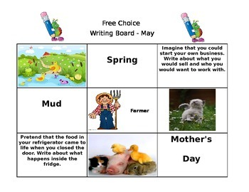 May Free Choice Writing Board