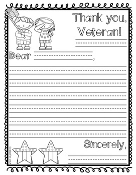 May Freebie! Word Search and Letter to a Veteran Template