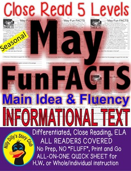 May Fun FACTS Close Read 5 Level Passages ALL-READERS-COVERED Articles