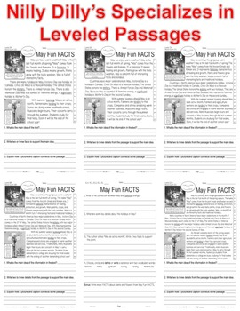 May Fun FACTS CLOSE READING 5 LEVEL PASSAGES Main Idea Fluency Check TDQs & More