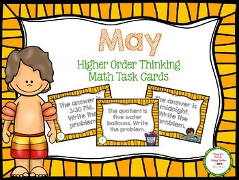 May Higher Order Thinking Math Task Cards