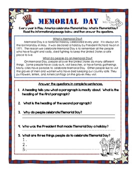 May Holidays Reading Comprehension and Writing Packet