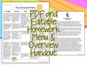 Third Grade Homework May {35+ NO PREP Printables & Editable Homework Menu}