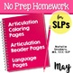 May Homework Packet for Speech Language Therapy