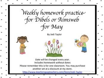 May Homework Practice for AIMSWEB or DIBELS