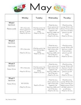 May Homework packet for Kindergarten / First Grade