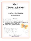 May I Have, Who Has:  Subtraction