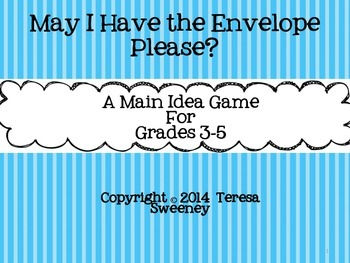 May I Have the Envelope Please? Main Idea Team Game