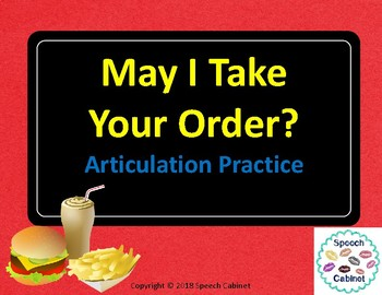 May I Take Your Order? An Articulation Practice Activity